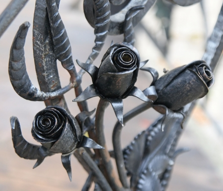 metal forged roses