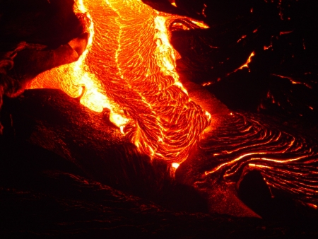 Pele braids are easily seen in this image of flowing lava.