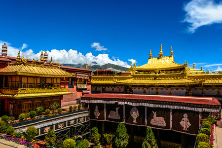 The Jokhang Temple in Lhasa, Tibet of China under the morning sunshine.