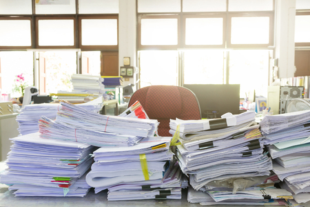 Photo for Business Concept, Pile of unfinished documents on office desk, Stack of business paper - Royalty Free Image