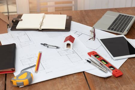 Photo for Engineer and Architect concept, Engineer Architects office team working with blueprints - Royalty Free Image