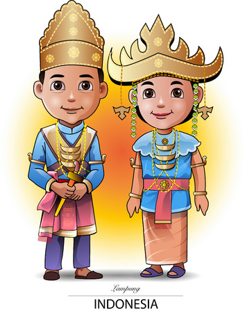 Illustration for Vector illustration, Lampung traditional clothing or costume. - Royalty Free Image