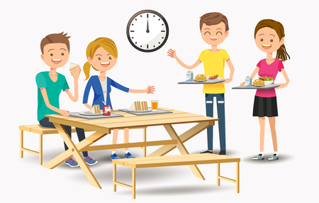 Illustration pour Eating with new friends at the cafeteria. Friendship Creation in Educational Institutions. - image libre de droit
