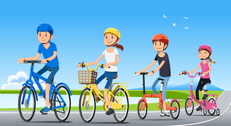 Ilustración de Traveling with family holiday together. Good relationship with people. Ecotourism by bicycle. National park. Bike concept. - Imagen libre de derechos