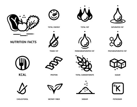 Vektor für Nutrition facts icon concept. Symbols of nutrients are common in food products collection. - Lizenzfreies Bild