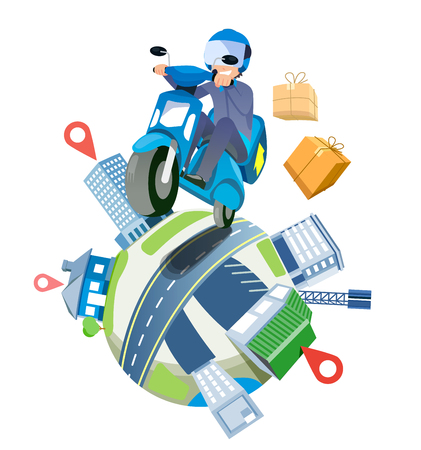 Illustration for Delivery a parcel service by speedy motorcycles nationwide. shipping around the world concept. - Royalty Free Image