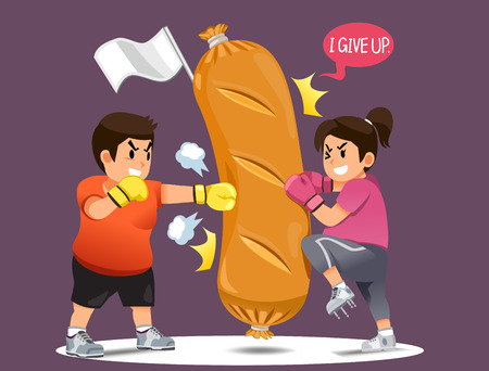 Illustration for People overcoming the desire to eat junk food.Fight for weight loss. Winning your mind for a good shape. win A fast food in funny concept. - Royalty Free Image