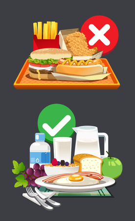 Illustration for Useful breakfast choices. Choose foods that are beneficial to the body. - Royalty Free Image