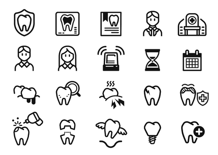Symptoms and dental Treatment at clinic. Oral care concept icon.