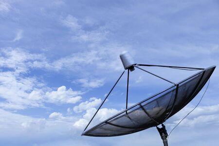 Photo for Satellite dish blue sky communication technology network - Royalty Free Image