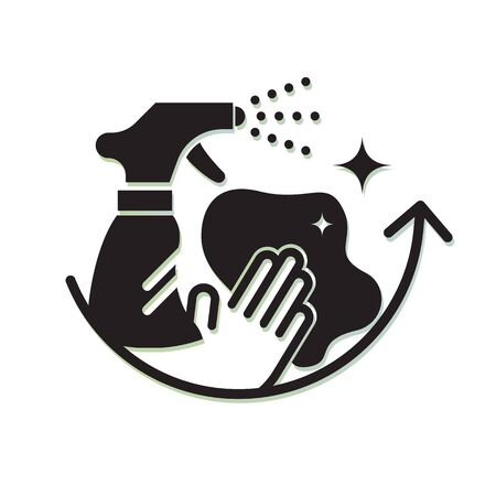Illustration pour Comprehensive Surface Cleaning - Protective Measures - Icon as EPS 10 File - image libre de droit