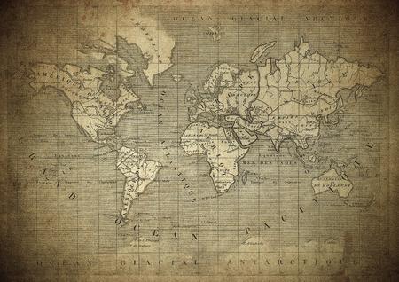 Photo pour vintage map of the world published in 1847 - image libre de droit