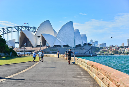 Sydney Opera House and Harbor Bridge in a sunny day