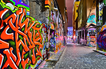 Night view of colorful graffiti artwork at Hosier Lane in Melbourne