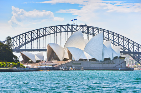 Sydney Harbor Bridge and Opera House in a sunny day