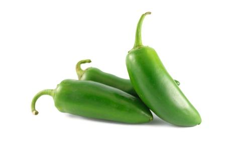 Fresh jalapeno peppers isolated on white background