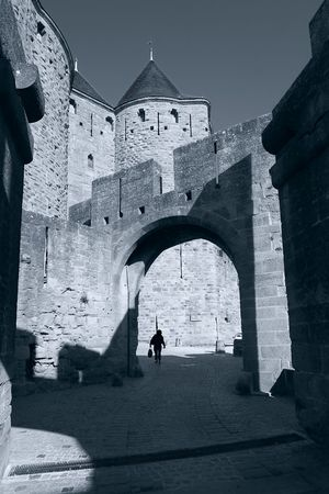 Porte Narbonaisse in black and white, Carcassonne (France)