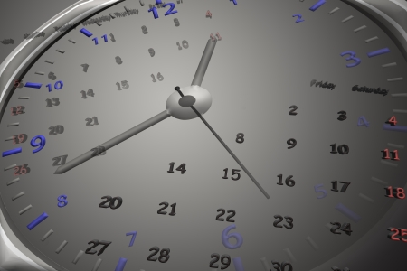 Calendar and clock isolated on black