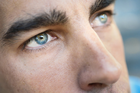 Photo for Close-up shot of man's eye. Man with blue eyes. - Royalty Free Image