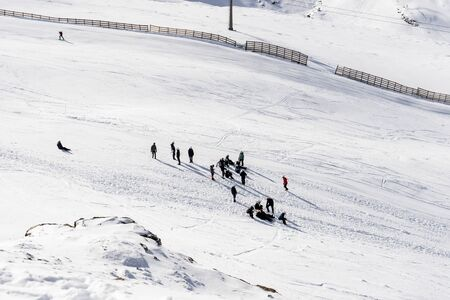 People preparing to ski in the Sierra Nevada ski resort