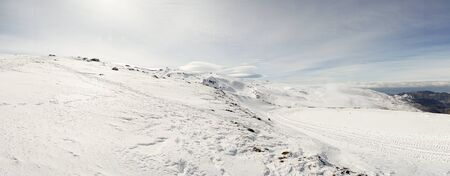 Ski resort of Sierra Nevada in winter, full of snow.