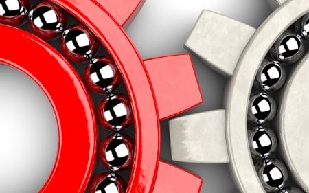 Photo pour Closeup of two gear bearings illustrating team work as concept - image libre de droit