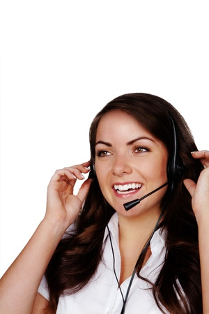 young pretty woman wearing a headset talking to someone