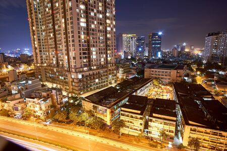 Photo for HO CHI MINH CITY, VIETNAM - NOVEMBER 15, 2019. Cityscape of Ho Chi Minh city. Long exposure at night - Royalty Free Image