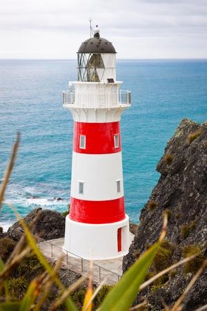Close-up of a beautiful lighthouse at Cape Palliser, North Island, New Zealand