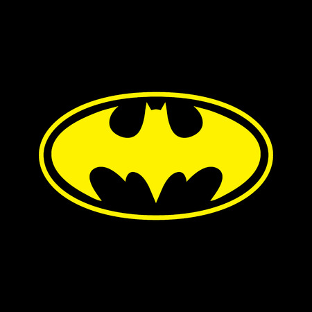 DC comics superhero Batman logo yellow on black background