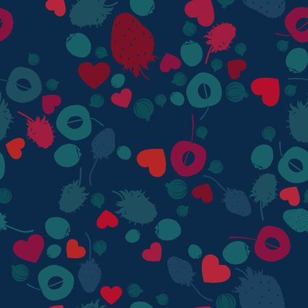 Berry fruit and hearts - vector background