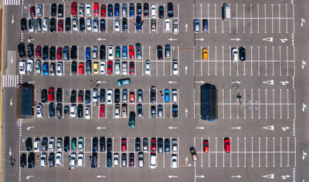 Photo for Aerial drone view of parking lot with many cars from above, city transportation and urban concept - Royalty Free Image