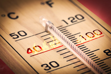 Photo for Close-up Hot temperature fahrenheit or celsius. - Royalty Free Image
