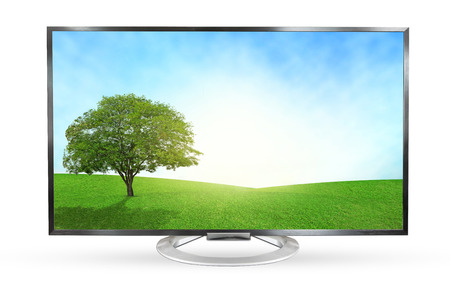 Television monitor landscape view isolated on white background.