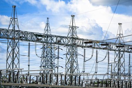 Photo pour Electric post power-plant transformer station . - image libre de droit