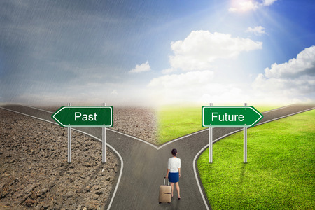 Photo for Businessman concept, Past or Future road to the correct way. - Royalty Free Image