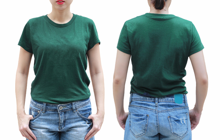 Photo pour Young woman in green shirt on white background. - image libre de droit