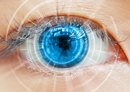 Photo for Close up women eye scanning technology in the futuristic, operation, lasik, cataract. - Royalty Free Image