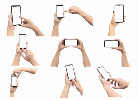 Photo pour Hands holding smartphone set isolated on white background. With clipping path - image libre de droit