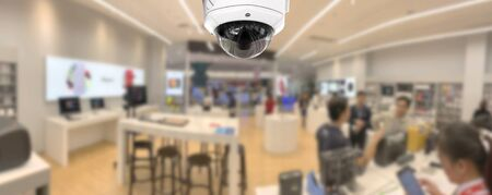 Photo for CCTV security panorama with shop store blurry background. - Royalty Free Image
