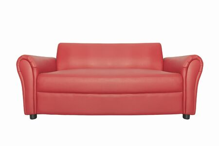 Photo pour Red luxury sofa for modern living room isolated white background. with clipping path - image libre de droit