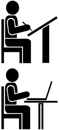Vector pictogram - man writes. Sign, icon, symbol.