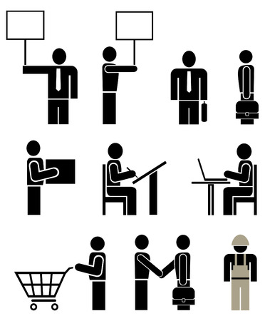 People of different professions - set of stylized vector pictograms. Units. Isolated, icons, design elements.