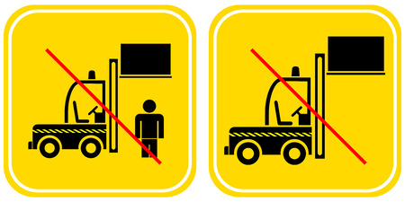 Vector prohibited sign - man stands under the cargo