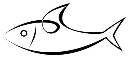 Vector stylized image of sea-fish on white background. Sea food. Symbol, tattoo, icon.