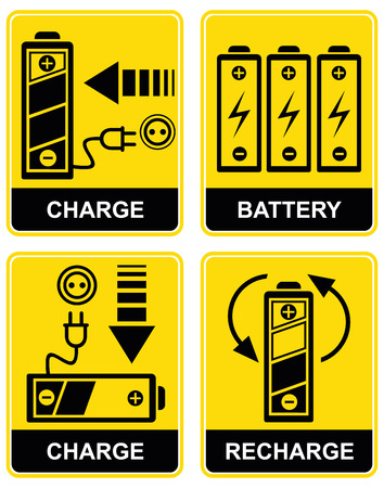 Set of icons - charging and recharging the accumulator battery. Yellow and black. Pictograms.
