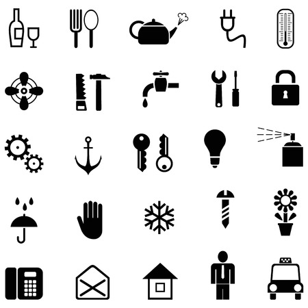 Set of vector household icons. Black and white pictograms.