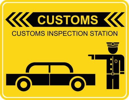 Customs inspection station -  sign, icon. Black image on yellow.