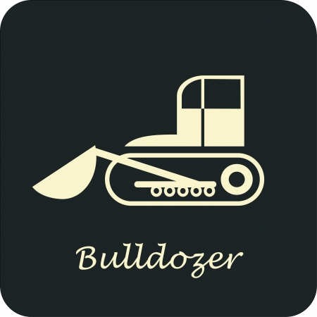 Bulldozer - vector icon. Can be used as logo for construction company.