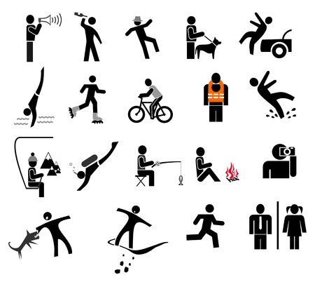 People in action - set of isolated icons. Black and white simple pictogram.